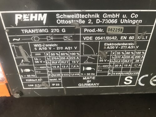 WIG welder REHM Transwig 270 G photo on Industry-Pilot
