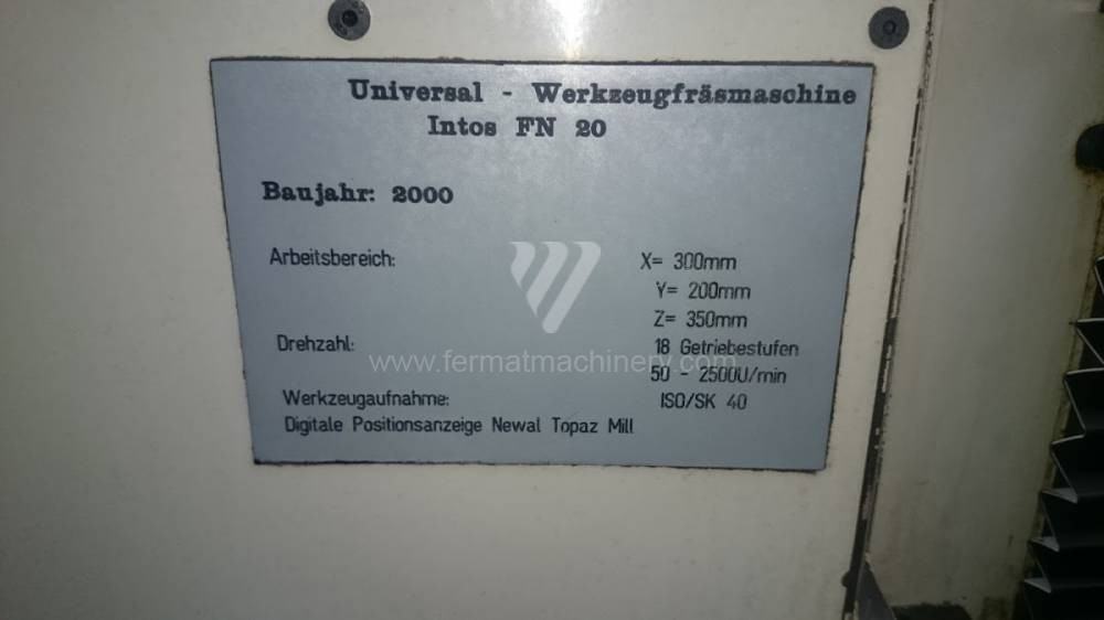 Toolroom Milling Machine - Universal Intos FN 20 photo on Industry-Pilot