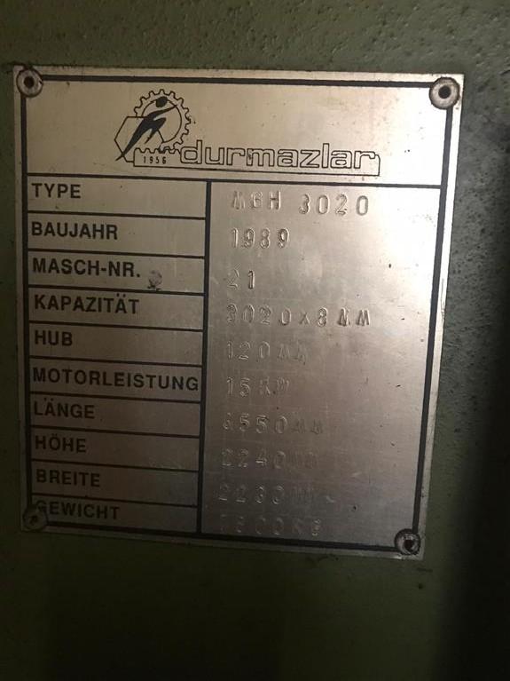 Hydraulic guillotine shear  DURMAZLAR MGH 3020 photo on Industry-Pilot