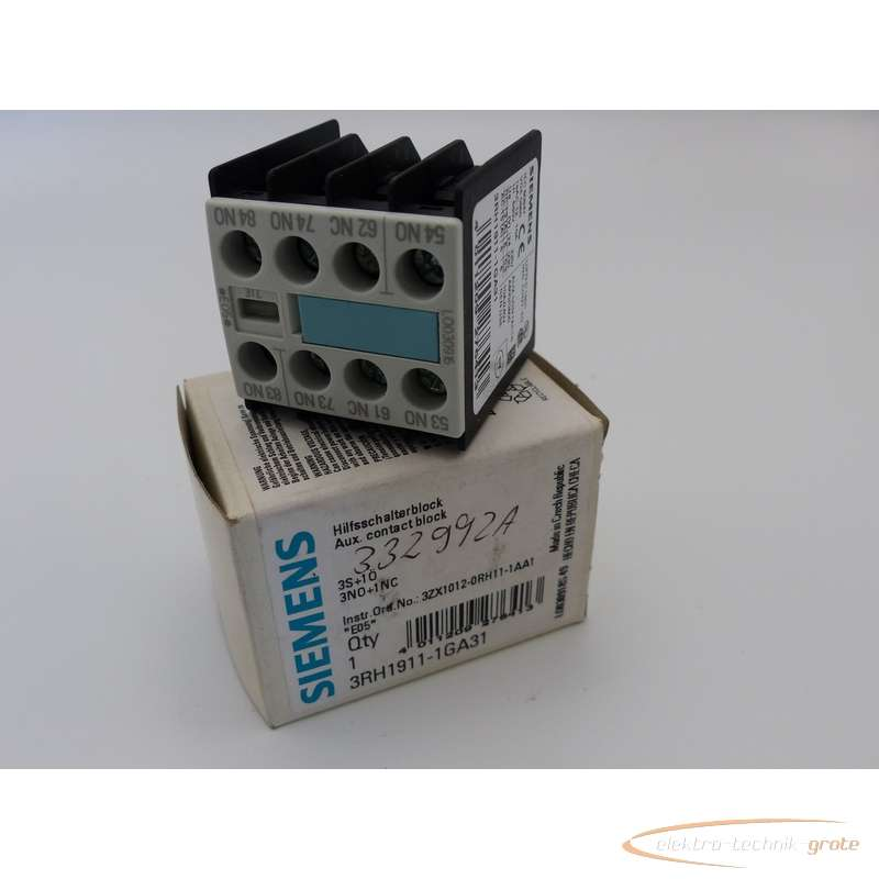 Auxiliary contact block Siemens  3RH1911-1GA31 ungebraucht!  photo on Industry-Pilot