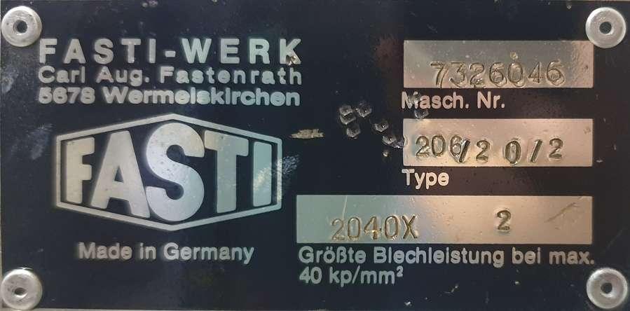 Листогиб с поворотной балкой Fasti 206-20-2 фото на Industry-Pilot