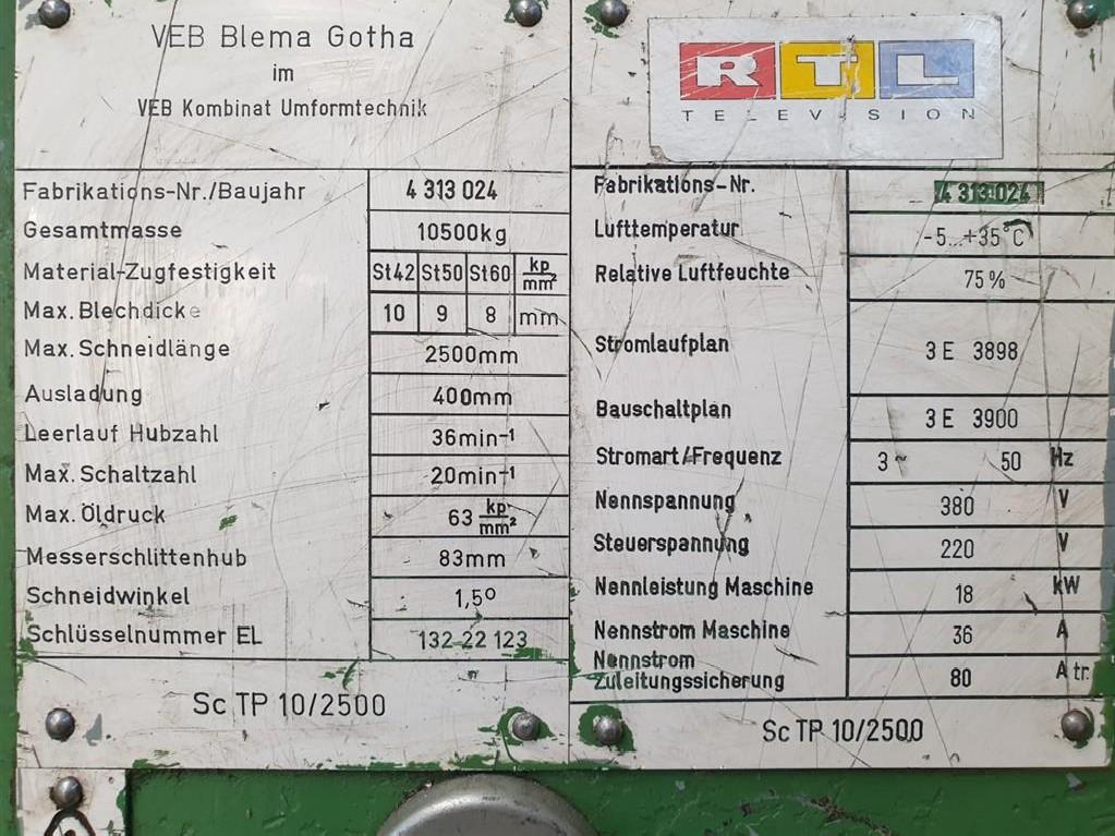 Гильотина механическая WMW-GOTHA SCTP 10/ 2500 фото на Industry-Pilot