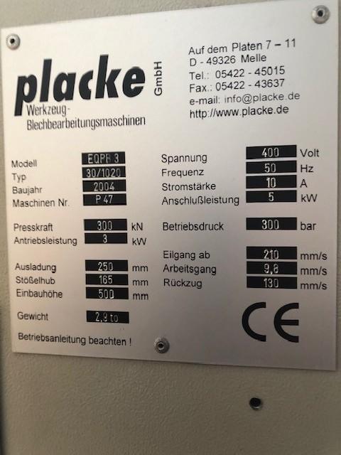 Листогибочный пресс - гидравлический PLACKE EQPB 3 фото на Industry-Pilot