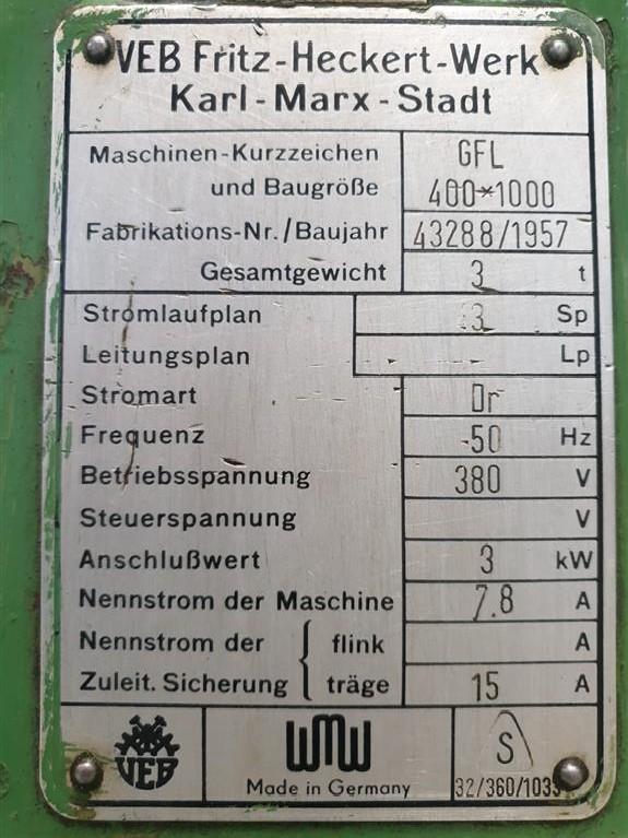 Резьбофрезерный станок FRITZ HECKERT GFL 400 x 1000 фото на Industry-Pilot