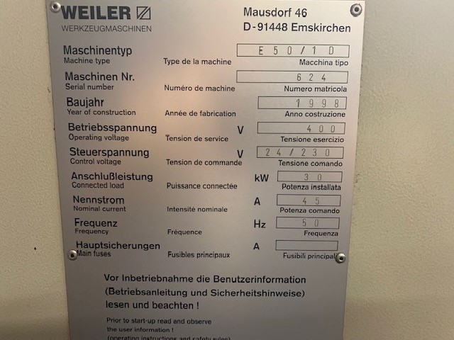 Turning machine - cycle control WEILER E50/1 photo on Industry-Pilot