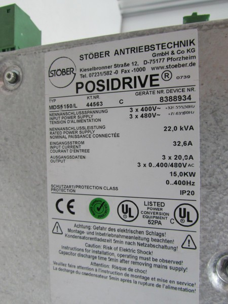 Frequency converter  Stöber Posidrive Servo Drive MDS5150/L 400V 15,0kW + XEA5001 +ASP5001 TESTED TOP photo on Industry-Pilot