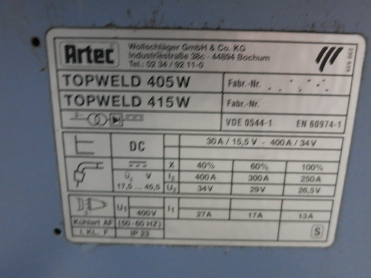 Установка для газоэлектрической сварки ARTEC Topwelt 405 w фото на Industry-Pilot