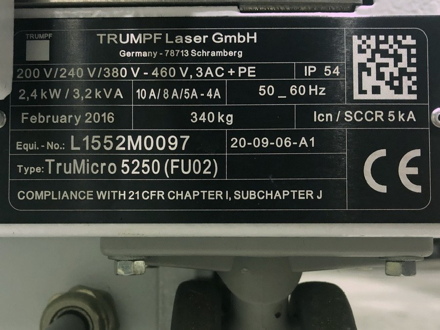 Laser Cutting Machine TRUMPF TruMicro 5250 photo on Industry-Pilot