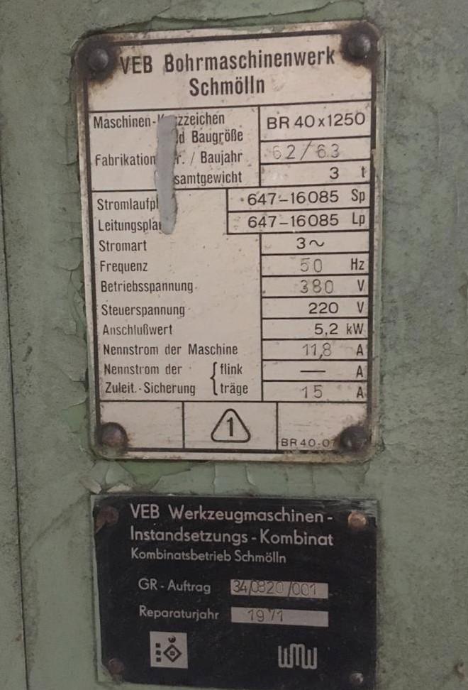 Радиально-сверлильный станок VEB Schmölln BR 40x1250 фото на Industry-Pilot