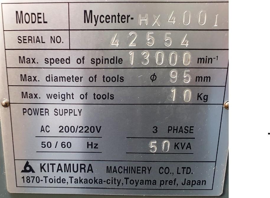 Обрабатывающий центр - горизонтальный KITAMURA HX 400 I фото на Industry-Pilot