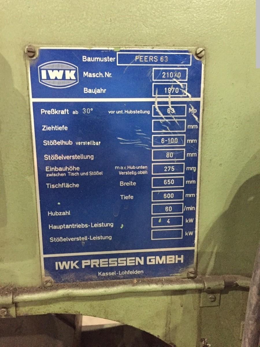 Эксцентриковый пресс - одностоечный IWK Pressen PEERS 63 фото на Industry-Pilot