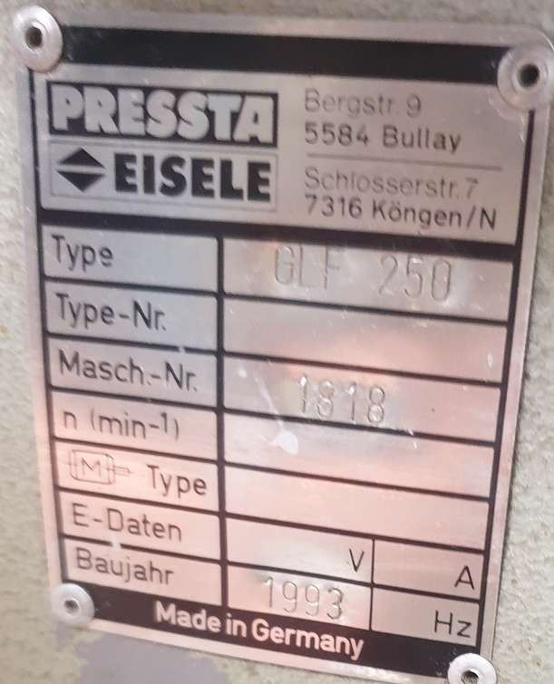Фрезерный станок - горизонт. Pressta Eisele GLF 250 фото на Industry-Pilot