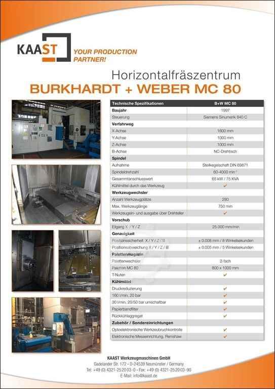 Machining Center - Horizontal Burkhardt+Weber MC 80 photo on Industry-Pilot
