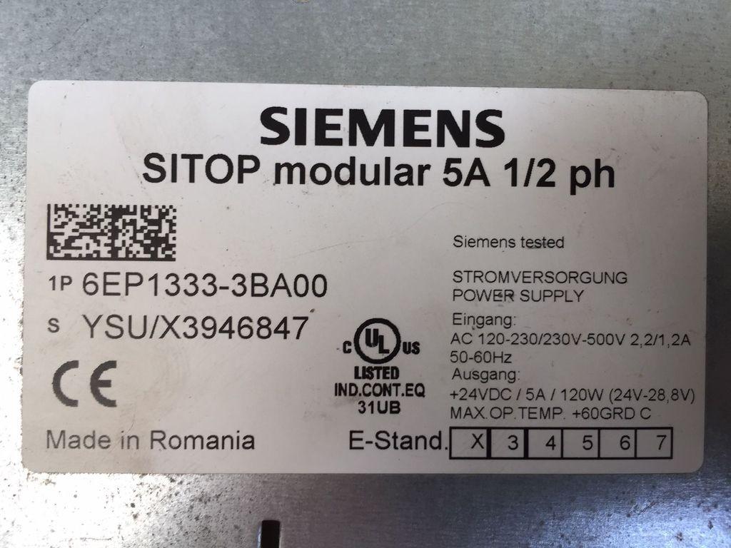 Siemens SITOP Modular 5A 1/2 ph 6EP 1333-3BA00 фото на Industry-Pilot