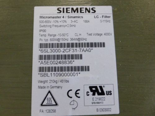 Siemens 6SL3000-2CF31-7AA0 Sinamics Sinusfilter 132 kW 6SL3000 2CF31-7AA0 *LP 9496€ 6SL30002CF17AA0  фото на Industry-Pilot