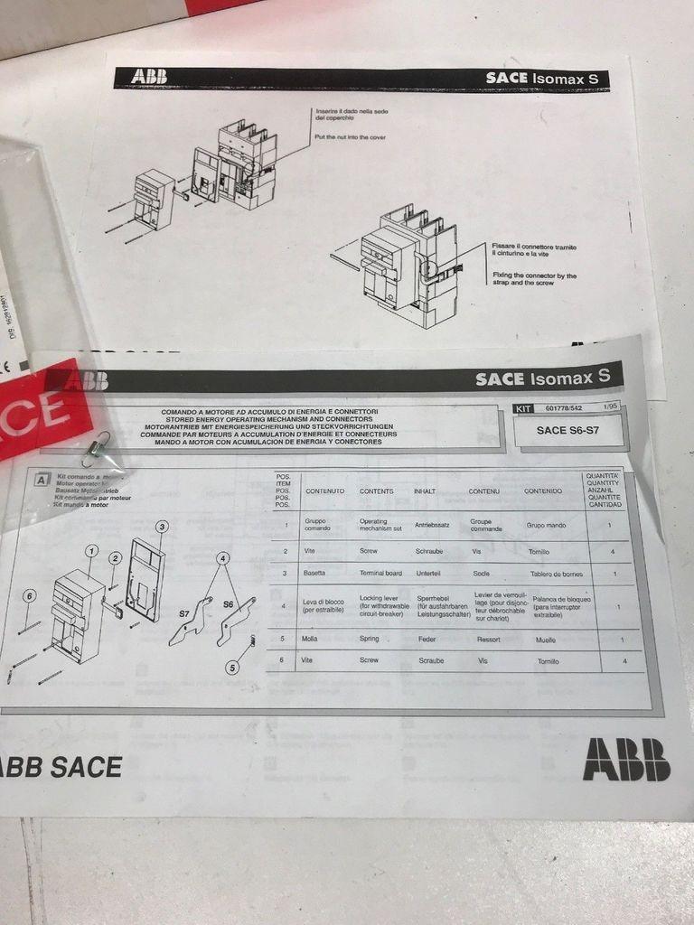 Защитный выключатель ABB SACE ISOMAX 1SDA014032R0001 Motorantrieb S6 EAN 8015644140328  фото на Industry-Pilot
